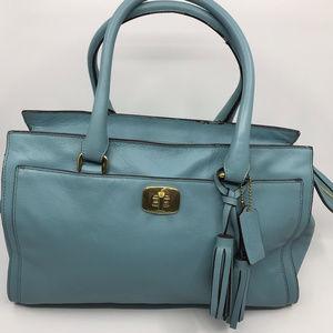 COACH L Blue Shoulder Bag Pure Leather